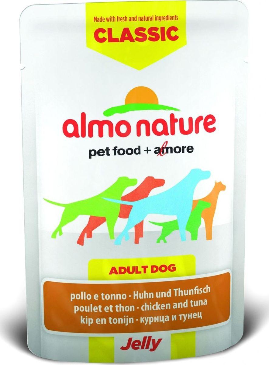 Консервы для собак Almo Nature Classic, курица и тунец в желе, 70 г0120710Консервы Almo Nature Classic - восхитительно вкусный функциональный влажный корм для собак, содержащий желатин, который является натуральным средством для вывода шерсти из организма животного, помогающий защитить пищеварительный тракт от раздражения, а также он придает корму восхитительно нежную структуру. Консервы приготовлены из самых свежих отборных ингредиентов уровня Human Grade (качество как для людей), являющихся натуральным естественным источником витаминов и микроэлементов. Состав: курица 55%, куриный бульон, тунец 5%, рис 0,2%.Пищевая ценность: белки 16%, клетчатка 0.1%, масла и жиры 1%, зола 1%, влажность 82%.Калорийность: 650 ккал/кг.Товар сертифицирован.
