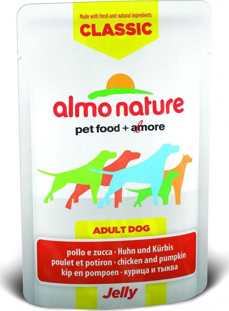 Консервы для собак Almo Nature Classic, курица и тыква в желе, 70 г0120710Консервы Almo Nature Classic - восхитительно вкусный функциональный влажный корм для собак, содержащий желатин, который является натуральным средством для вывода шерсти из организма животного, помогающий защитить пищеварительный тракт от раздражения, а также он придает корму восхитительно нежную структуру. Консервы приготовлены из самых свежих отборных ингредиентов уровня Human Grade (качество как для людей), являющихся натуральным естественным источником витаминов и микроэлементов. Состав: курица 55%, куриный бульон, тыква 5%, рис 0,2%. Пищевая ценность: белки 16%, клетчатка 0.1%, масла и жиры 0.5%, зола 1%, влажность 81%. Калорийность: 667 ккал/кг.Товар сертифицирован.