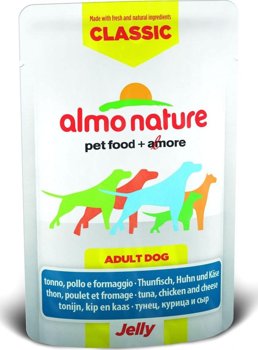 Консервы для собак Almo Nature Classic, тунец, курица и сыр в желе, 70 г0120710Консервы Almo Nature Classic - восхитительно вкусный функциональный влажный корм для собак, содержащий желатин, который является натуральным средством для вывода шерсти из организма животного, помогающий защитить пищеварительный тракт от раздражения, а также он придает корму восхитительно нежную структуру. Консервы приготовлены из самых свежих отборных ингредиентов уровня Human Grade (качество как для людей), являющихся натуральным естественным источником витаминов и микроэлементов. Состав: тунец 27,5%, курица 27,5%, бульон из тунца, сыр 5%, рис 0,2%. Пищевая ценность: белки 16%, клетчатка 0.1%, масла и жиры 2%, зола 1%, влажность 80%.Калорийность: 767 ккал/кг.Товар сертифицирован.