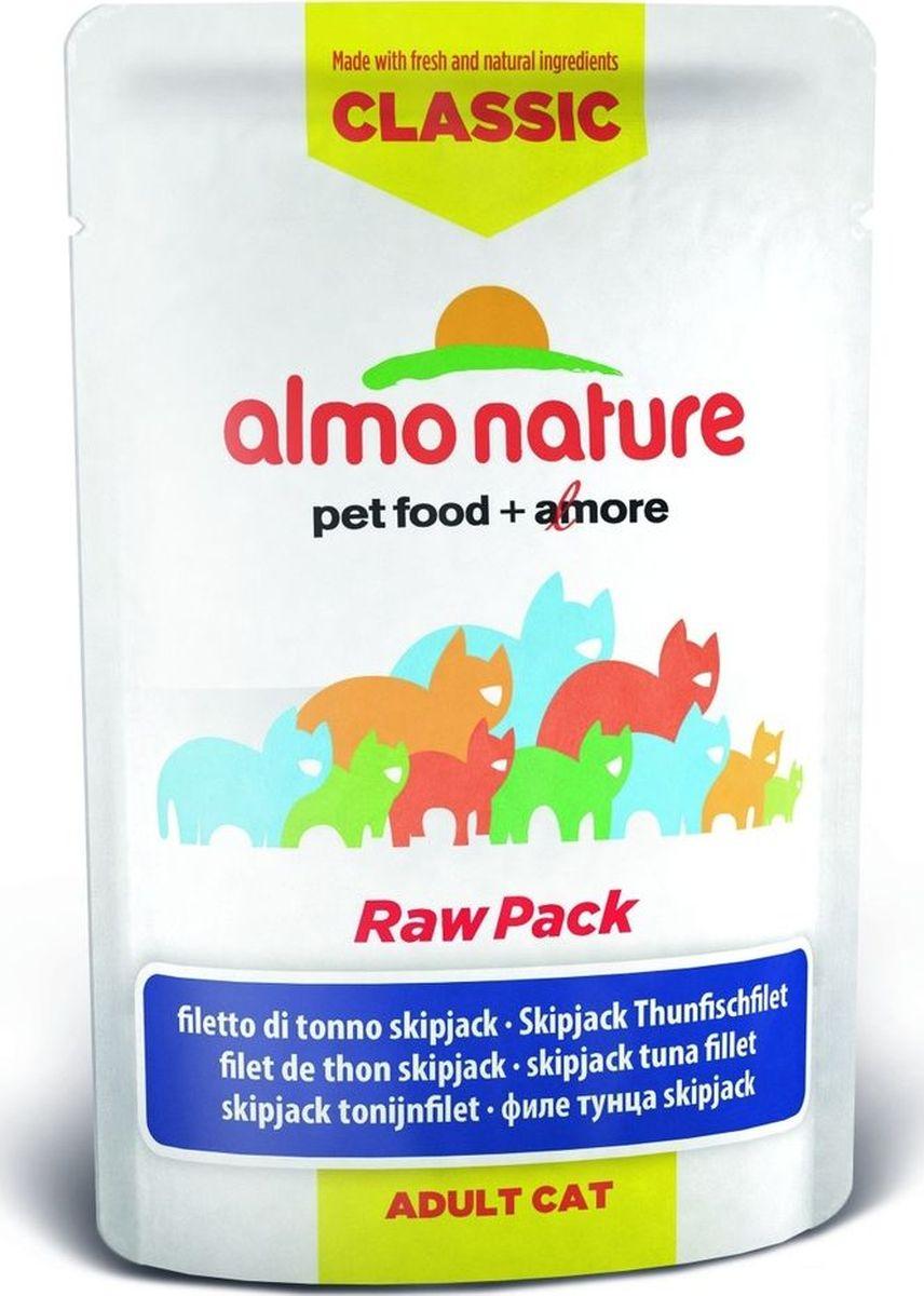 Консервы для кошек Almo Nature Classic Raw Pack, филе полосатого тунца, 55 г0745Консервы Almo Nature - восхитительно вкусный функциональный влажный корм для кошек, содержащий желатин, который является натуральным средством для вывода шерсти из организма животного, помогающий защитить пищеварительный тракт от раздражения, а также он придает корму восхитительно нежную структуру. Консервы приготовлены из самых свежих отборных ингредиентов уровня Human Grade (качество как для людей), являющихся натуральным естественным источником витаминов и микроэлементов. Состав: филе полосатого тунца 75%, бульон из тунца 24%, рис 1%. Гарантированный анализ: белок 20%, клетчатка 0,1%, масла и жиры 1%, зола 2%, влажность 77%.Калорийность - 780 ккал/кг.Товар сертифицирован.
