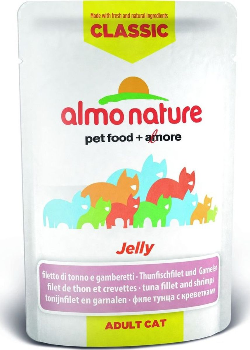 Консервы для кошек Almo Nature Classic, тунец и креветки в желе, 55 г0120710Консервы Almo Nature Classic - восхитительно вкусный функциональный влажный корм для кошек, содержащий желатин, который является натуральным средством для вывода шерсти из организма животного, помогающий защитить пищеварительный тракт от раздражения, а также он придает корму восхитительно нежную структуру. Консервы приготовлены из самых свежих отборных ингредиентов уровня Human Grade (качество как для людей), являющихся натуральным естественным источником витаминов и микроэлементов. Состав: бульон из тунца 53,5%, филе тунца 39,8%, креветки 4%, рис 1%. Гарантированный анализ: белок 9%, клетчатка 1%, масла и жиры 0,5%, зола 2%, влажность 87,5%.Калорийность - 357,5 ккал/кг.Товар сертифицирован.