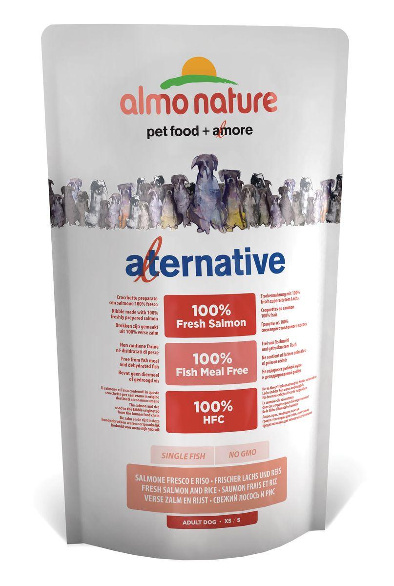 Корм сухой Almo Nature Alternative для собак карликовых и мелких пород, с лососем и рисом, 750 г55786_24Полнорационный корм Almo Nature Alternative рекомендован для собак карликовых и мелких пород. Монобелковый корм не содержит мясной муки и дегидрированного мяса. Рекомендован к употреблению собакам с чувствительным пищеварением. Не содержит глютена, ГМО, химических консервантов, красителей и усилителей вкуса.Состав: свежий лосось - 50%, рис - 40%, картофельный протеин, жир животного происхождения, минералы, гидролизированный белок ягненка, цельные семена льна, лососевый жир, маннанолигосахариды - 0,1%, инулин из цикория - источник ФОС (фруктоолигосахариды) - 0,1%.Товар сертифицирован.
