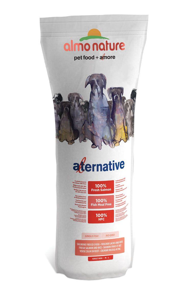 Корм сухой Almo Nature Alternative для собак средних и крупных пород, с лососем и рисом, 9,5 кг0120710Полнорационный корм Almo Nature Alternative рекомендован для собак средних и крупных пород. Монобелковый корм не содержит мясной муки и дегидрированного мяса. Рекомендован к употреблению собакам с чувствительным пищеварением. Не содержит глютена, ГМО, химических консервантов, красителей и усилителей вкуса.Состав: свежее мясо лосося - 50%, рис - 40%, картофельный протеин, жир животного происхождения, минералы, гидролизированный белок ягненка, цельные семена льна, лососевый жир, маннанолигосахариды - 0,1%, инулин из цикория - источник FOS (фруктоолигосахариды) - 0,1%. Витамины и микроэлементы: витамин A - 22000 IU/кг, витамин D3 - 1400 IU/кг, витамин E - 300 мг/ кг, витамин B1 - 12 мг/кг, витамин B2 - 14 мг/кг, кальций D-пантотенат - 20 мг/кг, витамин B6 - 12 мг/ кг, витамин B12 - 0,15 мг/кг, холин хлорид - 3185 мг/кг, ниацин - 25 мг/кг, биотин - 0,5 мг/кг, таурин - 1000 мг/кг, витамин K - 1 мг/кг, фолиевая кислота - 1 мг/кг, L-карнитин - 50 мг/кг, сульфат меди пентагидрат - 32 мг/кг, двухвалентной меди хелат аминокислот гидрат - 33 мг/кг, моногидрат сульфата цинка - 222 мг/кг, цинка аминокислотный хелат гидрат - 267 мг/кг, моногидрат сульфата марганца - 20,65 мг/кг, органический селен - 80,44 мг/кг. Пищевая ценность: белки - 25%, клетчатка - 2,6%, жиры - 15%, зола - 7%, кальций - 1,6%, фосфор - 0,93%, Омега 3 - 1,5%, Омега 6 - 3%, влага - 9,5%. Калорийность: 3580 ккал/кг.Товар сертифицирован.