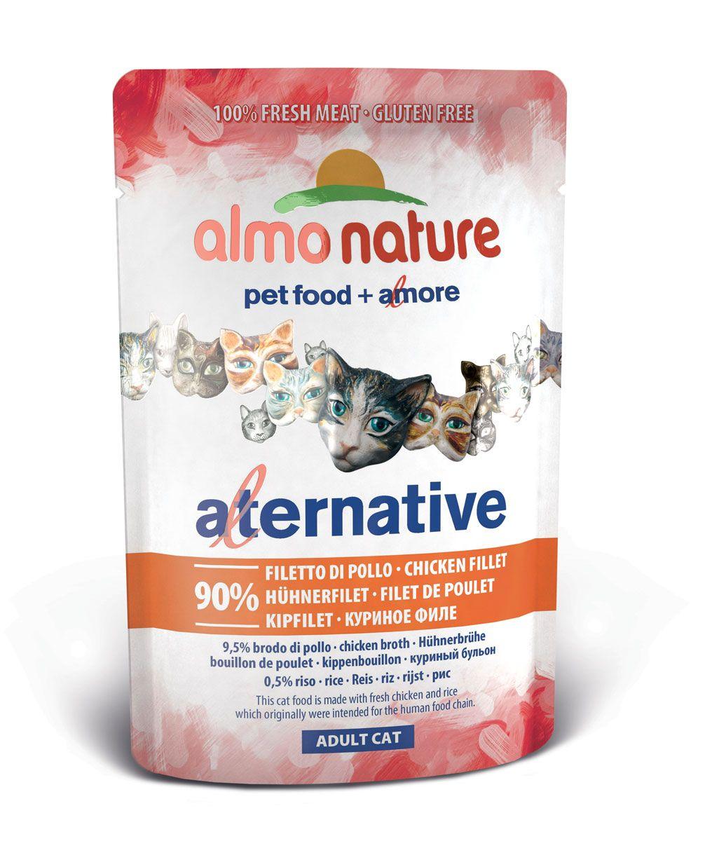 Консервы для кошек Almo Nature Alternative, с куриным филе, 55 г20623Консервы Almo Nature Alternative - сбалансированный влажный корм для кошек, изготовленный из ингредиентов высшего качества, являющихся натуральными источниками витаминов и питательных веществ. Состав: филе курицы - 90%, куриный бульон - 9,5, рис - 0,5%. Пищевая ценность: белки - 20%, клетчатка - 0,1%, масла и жиры - 1%, зола - 2%, влага - 78%.Товар сертифицирован.