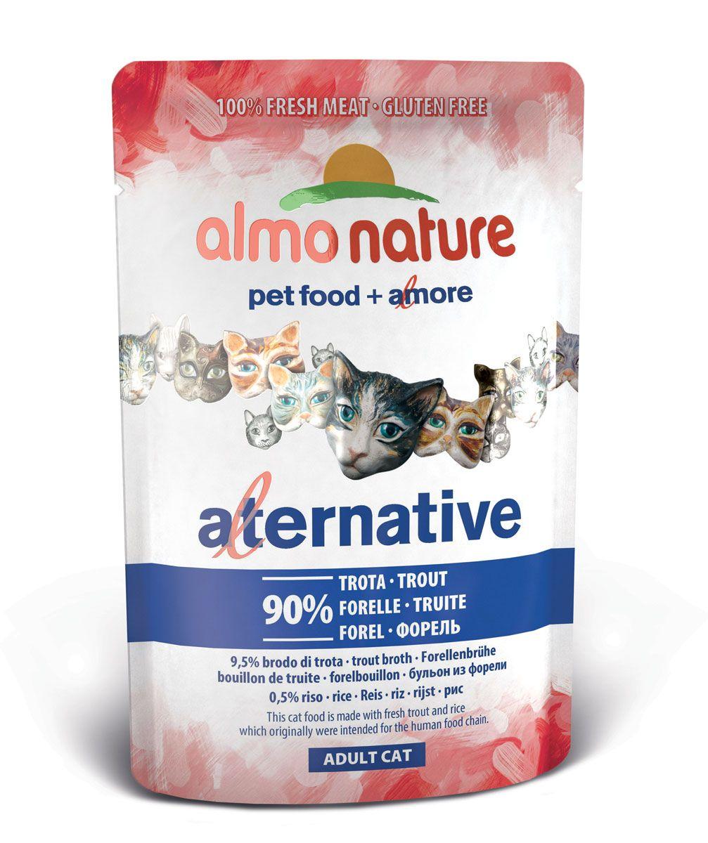 Консервы для кошек Almo Nature Alternative, с форелью, 55 г0120710Консервы Almo Nature Alternative - сбалансированный влажный корм для кошек, изготовленный из ингредиентов высшего качества, являющихся натуральными источниками витаминов и питательных веществ. Состав: форель - 90%, бульон из форели - 9,5%, рис - 0,5%.Пищевая ценность: белки - 17%, клетчатка - 0,1%, масла и жиры - 7,5%, зола - 1%, влага - 71%.Товар сертифицирован.
