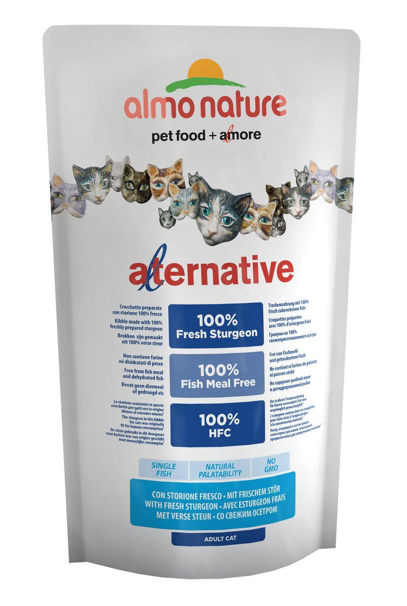 Корм сухой для кошек Almo NatureAlternative, с осетром и рисом, 750 г0120710Полнорационный корм для кошек Almo Nature Alternative изготовлен исключительно из свежего мяса. Монобелковый корм не содержит мясной муки и дегидрированного мяса. Рекомендован к употреблению кошек с чувствительным пищеварением. Не содержит ГМО, химических консервантов, красителей и усилителей вкуса.Состав: свежий осетр - 55%, рис, куриный жир, кукурузный глютен, гидролизованный животный белок, дрожжи, помидоры, яйца, минералы, свекольный жом, мананоолигосахариды - 0,2%, инулин из цикория - источник ФОС - 0,2%.Питательные добавки: витамин A - 24000 IU/kg, витамин D3 - 1700 IU/kg, витамин E - 400 мг/кг, витамин B1 - 10 мг/кг, витамин B2 - 8 мг/кг, кальций D-pпантотенат - 16 мг/кг, витамин B6 - 6 мг/кг, витамин B12 - 0,15 мг/кг,витамин C - 50 мг/кг, холина хлорид - 3080 мг/кг, ниацин - 50 мг/кг,биотин - 0,5мг/кг, таурин - 720 мг/кг, витамин K - 1мг/кг, фолиевая кислота - 1мг/кг, сульфат меди пентагидрат - 32 мг/кг, меди хелат аминокислоты гидрат - 40 мг/кг, оксид цинка моногидрат - 166,7мг/кг, цинка хелат аминокислоты гидрат - 266,7мг/кг, сульфат марганца моногидрат - 78,1мг/кг, органический селен - 65,2мг/кг.Пищевая ценность: кальций - 1,51%, фосфор - 0,96%, калий - 0,6%, магний - 0,12%, омега-3 - 1,39%, омега-6 - 3,68%. Пищевая ценность: белки - 30%, клетчатка - 1,5%, масла и жиры - 19%, зола - 8%, влага - 9,5%.Товар сертифицирован.