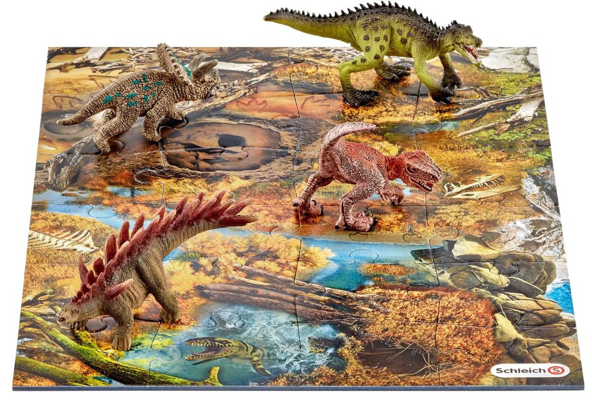 Schleich Набор фигурок Динозавры 4 шт + Пазл Заводь schleich игровой набор пещера со львом