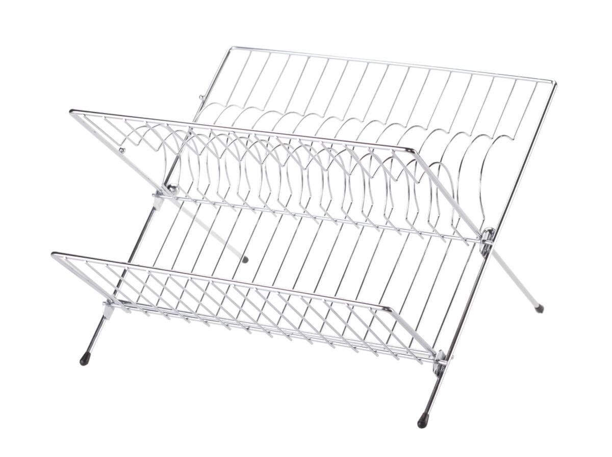 Сушилка для посуды Walmer, двухъярусная, складная, 32 x 26 x 22 смВетерок 2ГФДвухъярусная сушилка для посуды Walmer выполнена из стали с порошковых покрытием. Ножки оснащены силиконовыми насадками. Сушилку можно установить на крыло мойки, стол или в кухонный шкаф. Она позволяет разместить до 14 тарелок, а откидная полка предназначена для мисок и кружек.Такая сушилка послужит удобным дополнением к основной сушилке. А также поможет сэкономить место на вашей кухне.