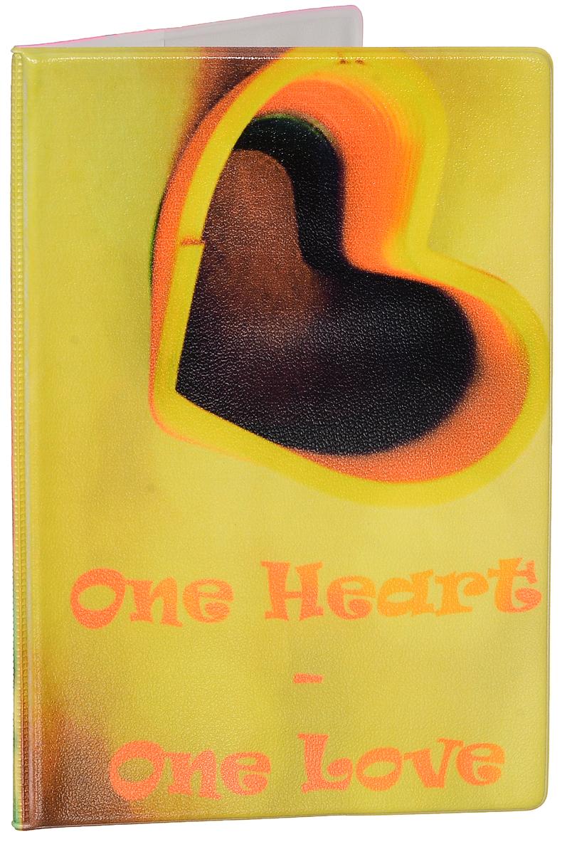 Обложка для паспорта женская Эврика Сердце, цвет: желтый, мультиколор. 92504639534-014Оригинальная обложка для паспорта Эврика понравится вам с первого взгляда. Она изготовлена из качественного ПВХ и оформлена оригинальным принтом с надписью One Heart - One Love. Внутри расположены прозрачные карманы для фиксации паспорта.Такая обложка не только поможет сохранить внешний вид вашего паспорта и защитить его от повреждений, но и станет стильным аксессуаром.