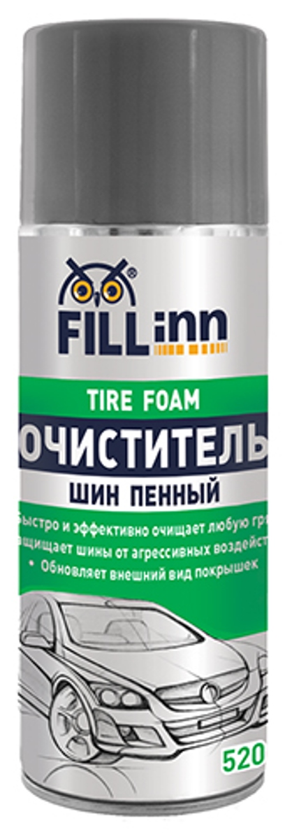 Очиститель шин Fill Inn, аэрозоль, пенный, 520 млPANTERA SPX-2RSБлагодаря обильной пене бережно и эффективно очищает накопившиеся загрязнения, растворяет пыль и въевшуюся грязь на поверхности резины. Предохраняет от растрескивания и старения шины автомобиля. Защитная грязеотталкивающая полимерная пленка обеспечивает обрабатываемой поверхности ухоженный вид новых покрышек. Предохраняет резину от разрушения ультрафиолетом и агрессивными веществами: солью и кислотными осадками. Не требует мойки после применения. Может применяться для защиты и улучшения внешнего вида резиновых и пластиковых элементов отделки кузова – защитных панелей, уплотнителей, молдингов. Состав очистителя безопасен для колесных дисков и колпаков.