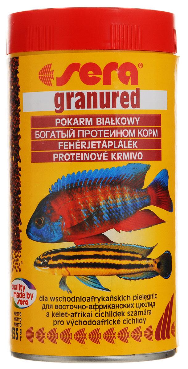 Корм Sera Granured, для плотоядных рыб, 135 г19336Корм для плотоядных рыб Sera Granured имеет высокое процентное содержание высококачественных белков из водных организмов и поэтому предназначен для преимущественно хищных цихлид. При комбинировании с другими кормами Sera является интересным разнообразием также и для всеядных видов рыб. Вновь посаженные рыбы переходят на этот корм без проблем. Корм сохраняет свою форму и таким образом остается привлекательным для рыб и после погружения.Товар сертифицирован.