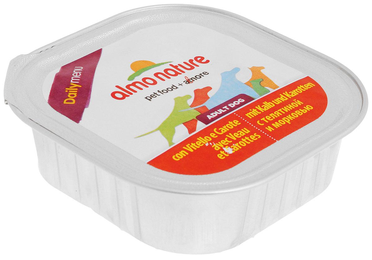 Паштет для собак Almo Nature Daily Menu, с телятиной и морковью, 100 г0120710Паштет для собак Almo Nature Daily Menu изготовлены из отборных, гипоаллергенных и легко усвояемых ингредиентов. Содержат питательные, высококачественные продукты: подлинное мясо свободного выгула - без гормонов и антибиотиков, а также овощи и злаки, произрастающие в экологически чистых условиях без использования пестицидов и химических веществ.Товар сертифицирован.