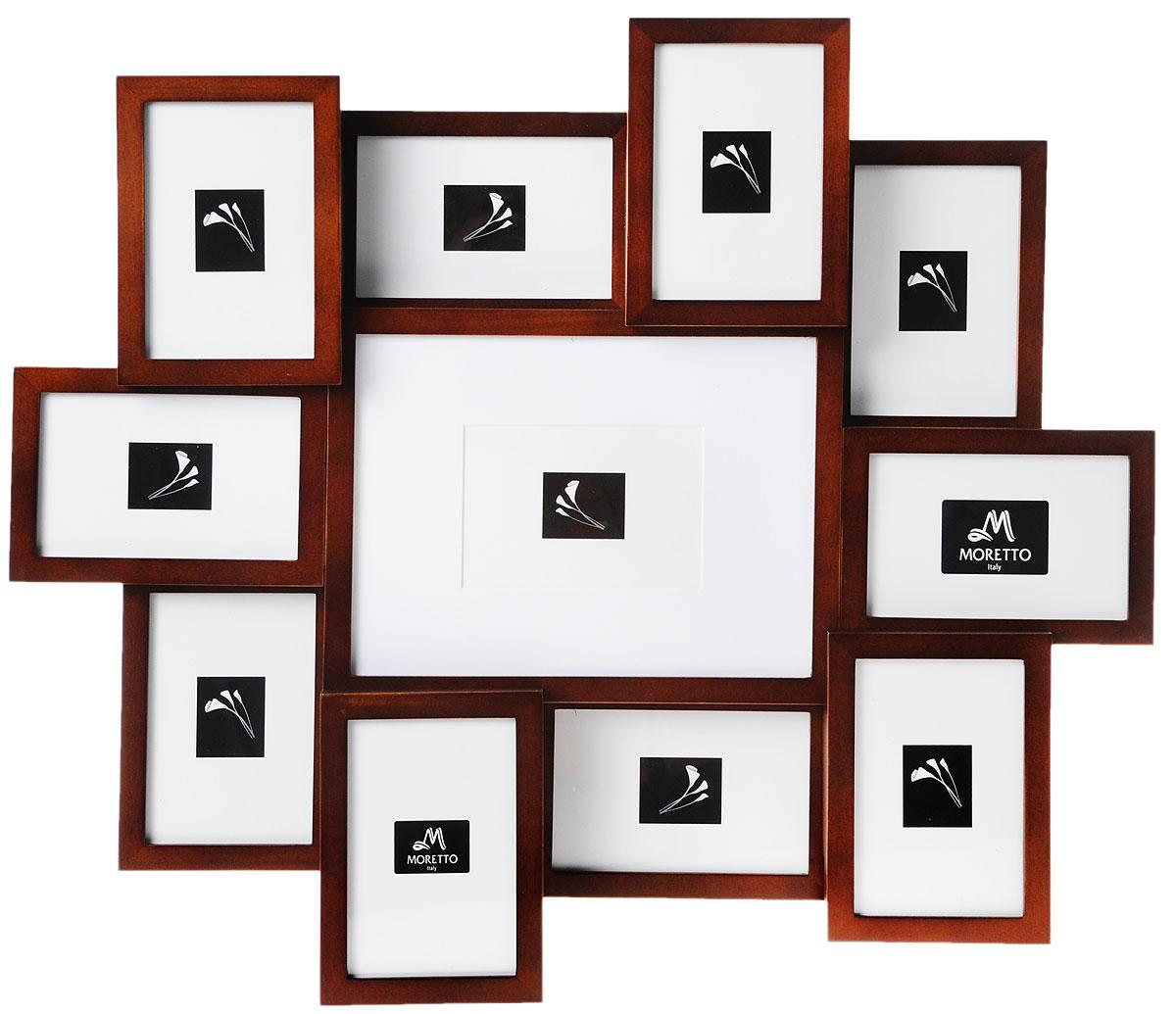 Фоторамка Moretto, на 11 фото12723Фоторамка Moretto отлично дополнит интерьер помещения и поможет сохранить на память ваши любимые фотографии. Фоторамка выполнена из дерева и представляет собой коллаж из 11 прямоугольных рамочек с вертикальным и горизонтальным расположением фотографий. Изделие подвешивается к стене. Такая рамка позволит сохранить на память изображения дорогих вам людей и интересных событий вашей жизни, а также станет приятным подарком для каждого.Размер рамок:- 10 фоторамок 12 х 17 см для фото 10 х 15 см,- фоторамка 28,5 х 22,2 см для фото 20 х 26 см, Общий размер фоторамки: 63 х 56 см.