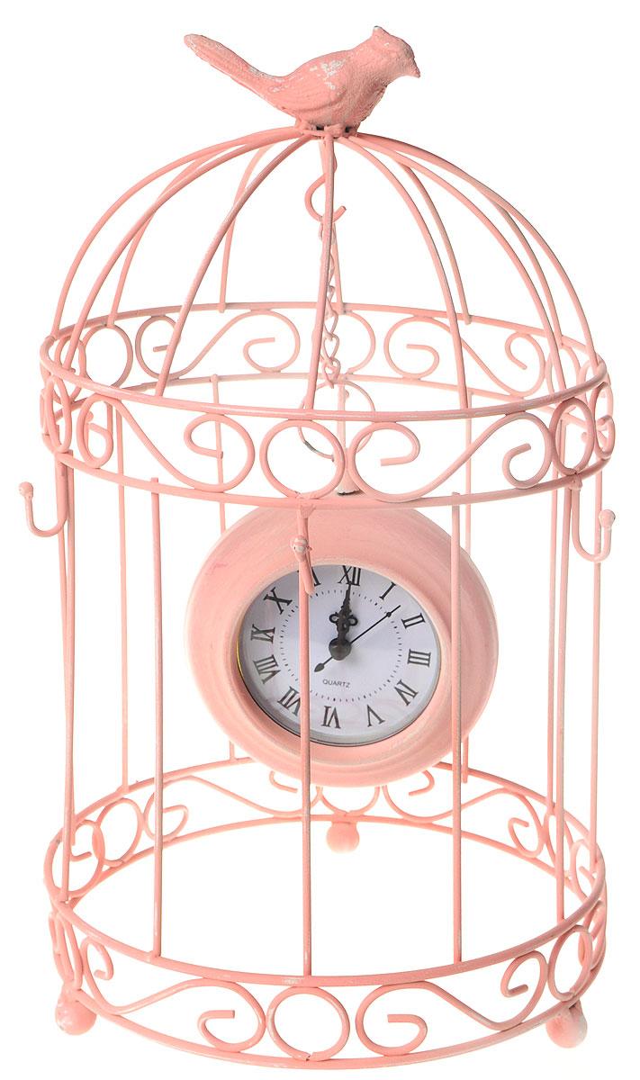 Часы настольные Русские Подарки Очарование прованса, 25 х 25 х 40 см94672Настольные кварцевые часы Русские Подарки Очарование прованса изготовлены из прочного металла. Изделие выполнено в виде клетки, внутри которой на цепочке висят часы. На клетке сидит птица. Настольные часы оригинального дизайна прекрасно оформят интерьер дома или рабочий стол в офисе.Часы работают от одной батарейки типа АА мощностью 1,5V (не входит в комплект).Диаметр изделия: 25 см.Высота изделия: 40 см.Диаметр часов: 12 см.