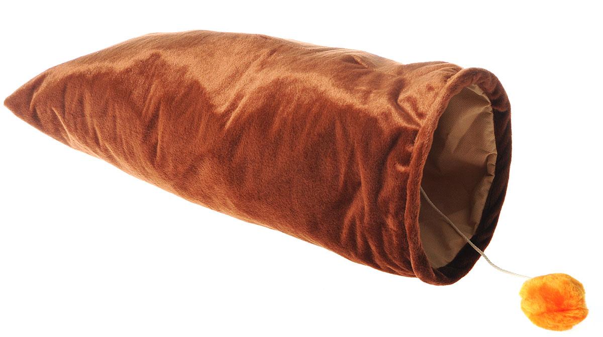 Карман для кошек ЗооМарк, с игрушкой, цвет: коричневый, длина 67 см113140Карман ЗооМарк станет лучшим подарком для вашего любимца. Изделие выполнено из искусственного меха и оснащено игрушкой в виде двух бубенчиков.Мягкий, теплый карман с шуршащими стеночками надолго привлечет внимание животного, обеспечит интересным времяпровождением, а также даст возможность прятаться внутри от холода и посторонних взглядов.Длина кармана: 67 см. Диаметр кармана: 22 см.