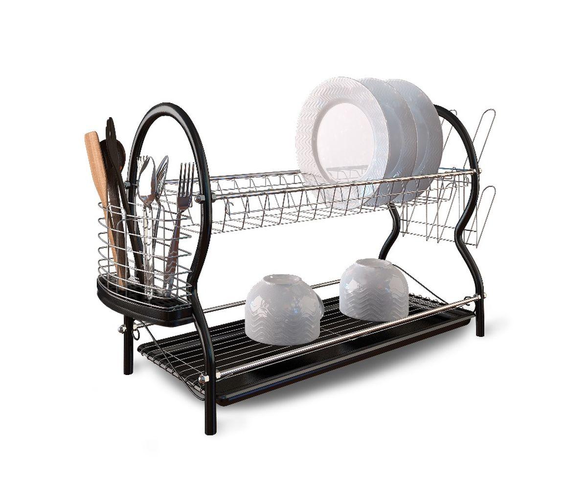 Сушилка для посуды Walmer, двухъярусная, с поддоном, 55,5 x 23,5 x 38,5 смVT-1520(SR)Двухъярусная сушилка Walmer, изготовленная из стали, представляет собой решетку с ячейками для посуды и держателями для стаканов и столовых приборов. Изделие оснащено пластиковым поддоном для стекания воды. Сушилка не займет много места на вашей кухне. Вы сможете разместить на ней большое количество предметов. Компактные размеры и оригинальный дизайн выделяют эту сушилку из ряда подобных.Размер сушилки: 55,5 x 23,5 x 38,5 см.