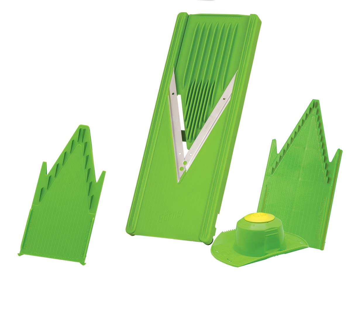 Овощерезка Borner Classic, цвет: салатовый, 5 предметов03144Базовый комплект овощерезки Borner Classic уже более 30 лет пользуется неизменной популярностью домохозяек.Удобен, доступен. 12 видов нарезки.Проверенное годами безупречное немецкое качество.Корпус овощерезки выполнен из пищевого полистирола.Базовый комплект овощерезки состоит из 5-ти предметов: - Рамы V (в которую вставляются вставки) - Безопасного плододержателя - Вставки безножевой (для шинковки капусты, нарезки из любых продуктов колечек, пластов и ломтиков)- Вставки с ножами 7 мм (для нарезки длинных или коротких брусочков, крупных кубиков)- Вставки с ножами 3,5 мм.Этот комплект овощерезки необходим как для каждодневного использования, так и при больших заготовках овощей и фруктов.