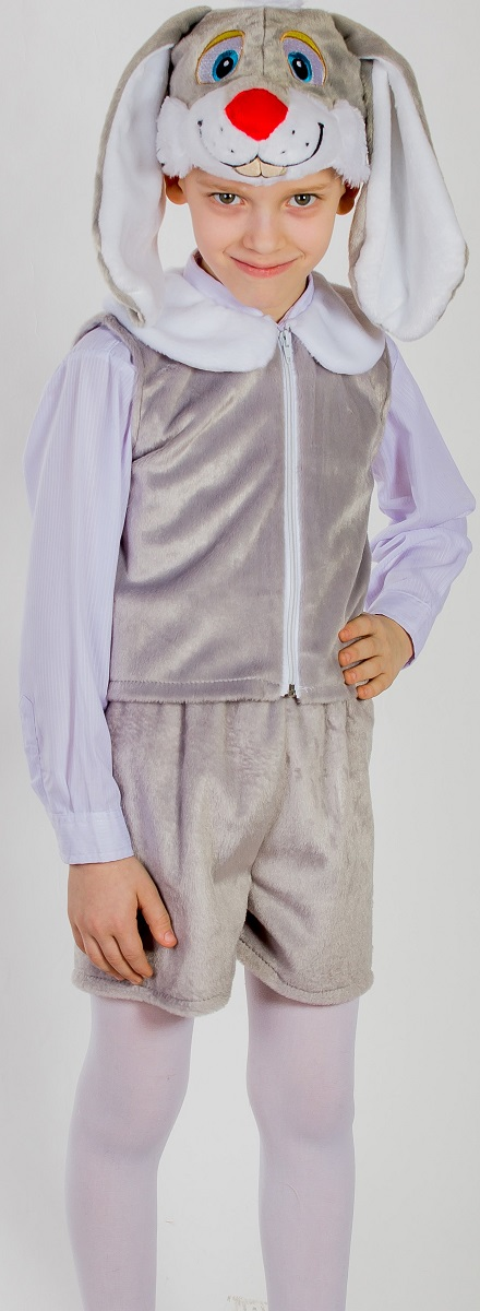 Карнавалия Карнавальный костюм для мальчика Зайчик цвет серый рост 122