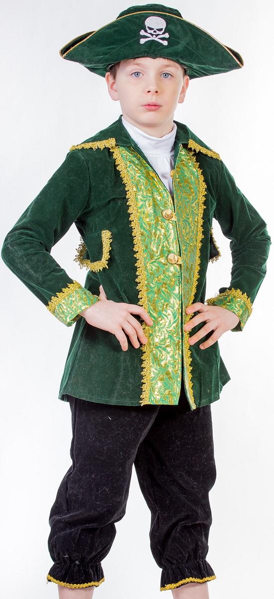 Карнавалия Карнавальный костюм для мальчика Капитан пиратов цвет зеленый черный рост 134