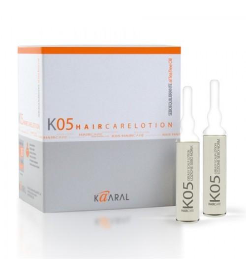 Kaaral Лосьон для восстановления баланса секреции сальных желез К05 Lozione Seboequilibrante, 12x10 млMP59.4DЭкстракт масла чайного дерева в сочетании с экстрактом крапивы идеально регулирует выработку кожного сала.
