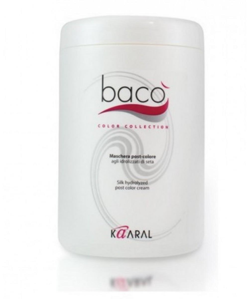 Kaaral Маска-кондиционер для окрашенных волос Baco Silk Hydrolized post color cream, 1000 млFS-00103Восстанавливающая маска, делающая волосы максимально блестящими и эластичными, сохраняет цвет. Кислый уровень РН нейтрали- зует щелочное воздействие красителя. Одновременный процесс запаивания чешуйчатого слоя предотвращает вымывание цветовых пигментов.