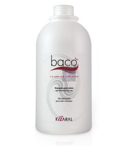 Kaaral Шампунь для окрашенных волос Baco Silk Hydrolized Post Color Shampoo, 1000 млFS-36054Идеально удаляет остатки красителя с поверхности кожи головы, нейтрализуя и вырав- нивая нормальный уровень РН. Шампунь с гидролизатами шелка нейтрализует щелочной уровень РН волос и кожи после окрашивания перманентными красителями, стабилизирует цвет и ухаживает за окрашенными волосами. Предотвращает выцветание и вымывание цветовых пигментов изнутри волоса, придает дополнительный блеск.