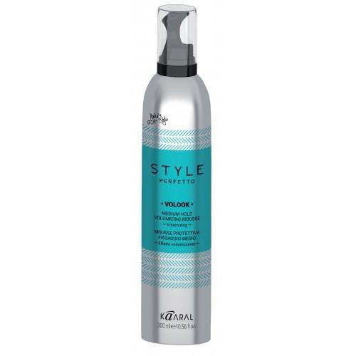 Kaaral Мусс для укладки волос средней фиксации Style Perfetto Volook Medium Hold Volumizing Mousse, 300 млMP59.4DМусс для укладки имеет среднюю степень фиксации. Защищает от агрессивного воздействия окружающей среды и придает волосам текстуру со средней фиксацией. Обогащен экстрактами крапивы двудомной и календулы. Средство эффективно увлажняет волосы, делает их мягкими и блестящими.