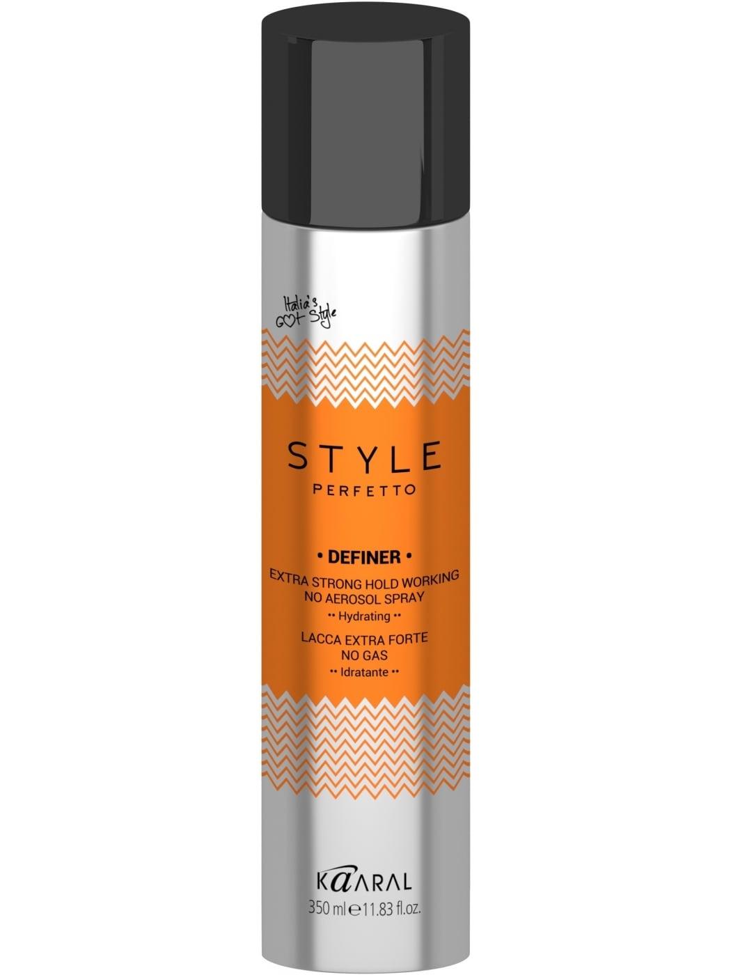 Kaaral Лак без газа экстра фиксации Style Perfetto Definer Extra Strong Hold Working No Aerosol Spray, 350 млCHI6210Лак без газа экстра фиксации.Лак экстрасильной фиксации придает объем волосам, не сушит их благодаря Провитамину B5, который увлажняет, укрепляет стержни волос и придает блеск и эффект объемной завершенной укладки.