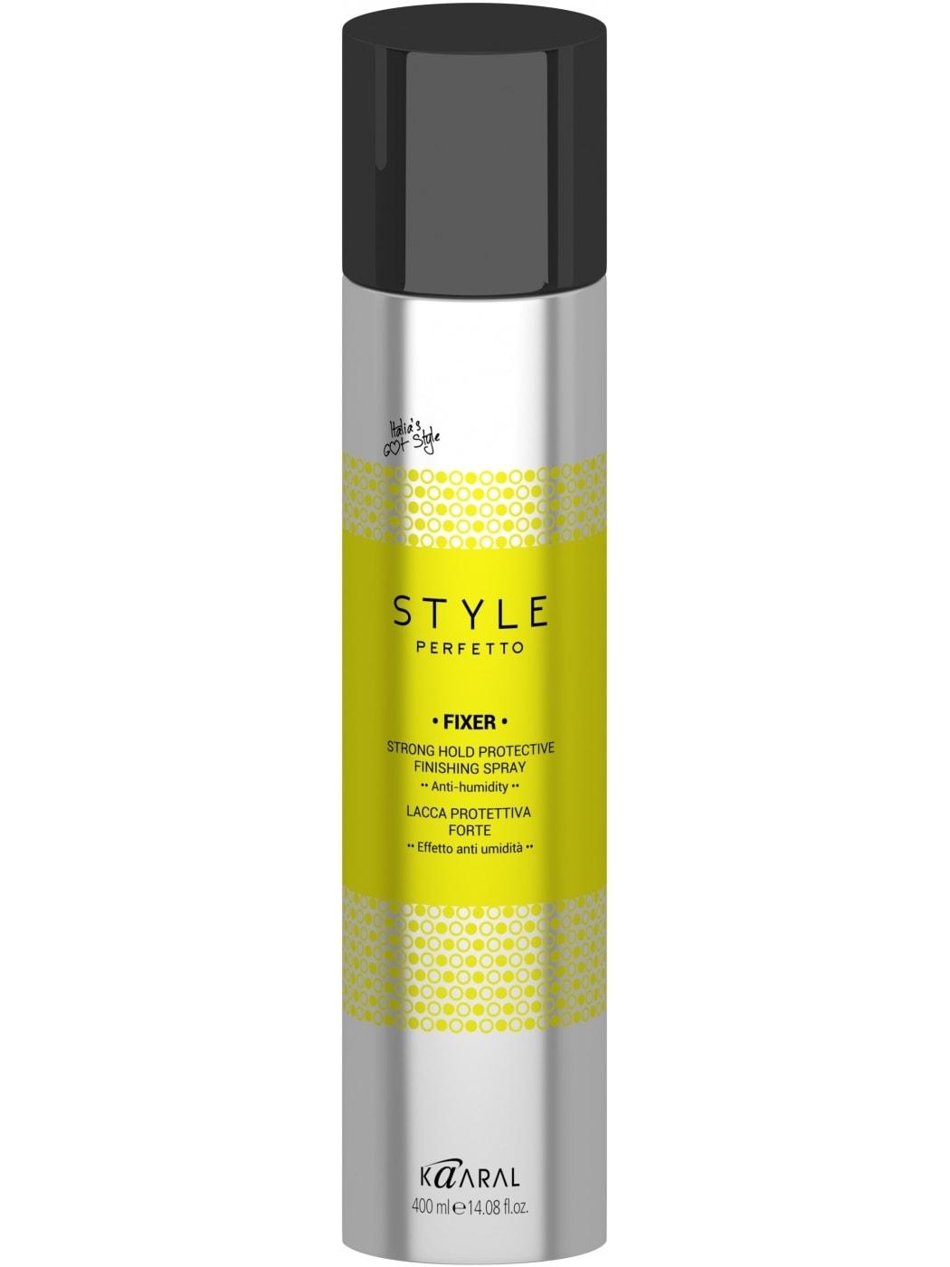 Kaaral Защитный лак для волос сильной фиксации Style Perfetto Fixer Strong Hold Protective Finishing Spray, 400 мл  недорого