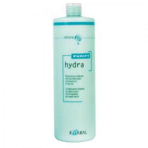 Kaaral Увлажняющий кондиционер для сухих волос Purify Hydra Conditioner, 1000 млSatin Hair 7 BR730MNСпециальный SPA кондиционер для сухих и пористых волос на основе экстрактов ромашки, масла семян сладкого миндаля, обогащённый протеинами риса. Активно увлажняет и питает пористую кутикулу, восстанавливая нарушение целостности чешуйчатого слоя. Увлажняющие компоненты не содержат силиконовых комплексов, что делает использование кондиционера безопасным. Придает волосам необычайную эластичность и здоровый вид.