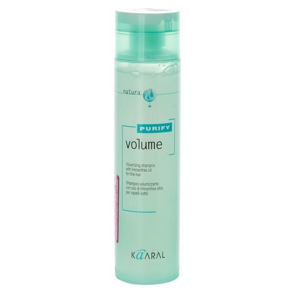 Kaaral Шампунь-объем для тонких волос Purify Volume Shampoo, 250 млFS-00897Нейтральный PH шампунь, на катионовой основе. Обеспечивает деликатный уход. Обладает эффектом двойного действия. Комбинация масла семян пенника лугового, состав которого обогащен жирными кислотами и гидролизованного коллагена, способствует восстановлению эластичности волос и придает им дополнительный объем, силу и блеск. Не содержит силикон. Не утяжеляет волосы.
