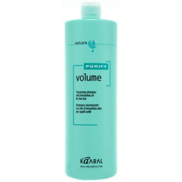 Kaaral Шампунь-объем для тонких волос Purify Volume Shampoo, 1000 млAC-2233_серыйНейтральный PH шампунь, на катионовой основе. Обеспечивает деликатный уход. Обладает эффектом двойного действия. Комбинация масла семян пенника лугового, состав которого обогащен жирными кислотами и гидролизованного коллагена, способствует восстановлению эластичности волос и придает им дополнительный объем, силу и блеск. Не содержит силикон. Не утяжеляет волосы.