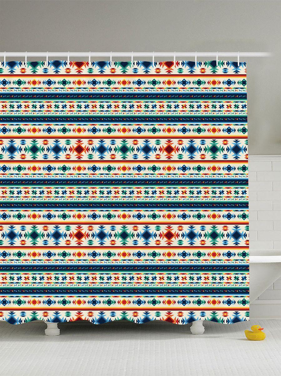 Штора для ванной комнаты Magic Lady Индейский орнамент, 180 х 200 см42391Штора Magic Lady Индейский орнамент, изготовленная из высококачественного сатена (полиэстер 100%), отлично дополнит любой интерьер ванной комнаты. При изготовлении используются специальные гипоаллергенные чернила для прямой печати по ткани, безопасные для человека.В комплекте: 1 штора, 12 крючков. Обращаем ваше внимание, фактический цвет изделия может незначительно отличаться от представленного на фото.