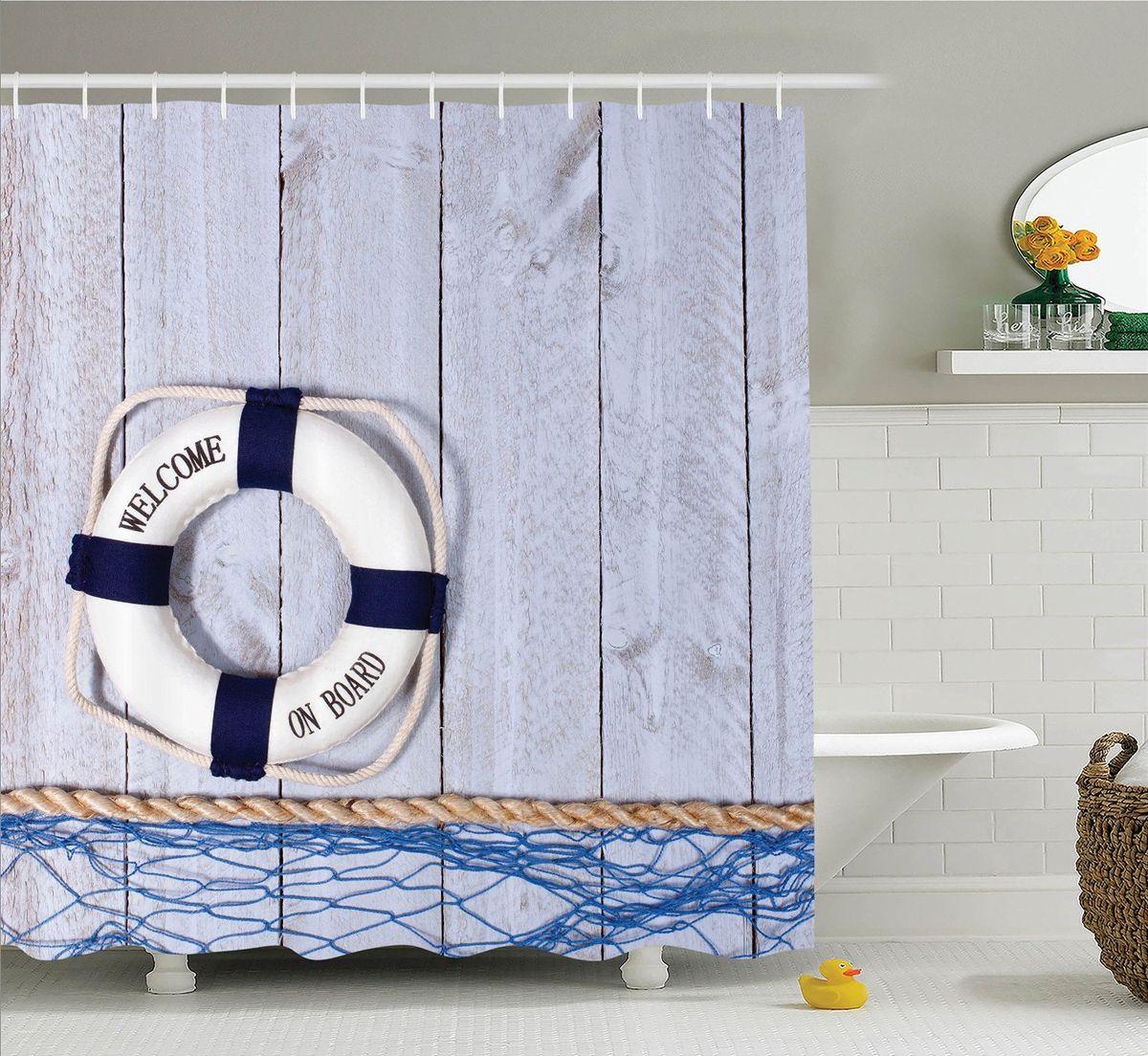Штора для ванной комнаты Magic Lady Спасательный круг, 180 х 200 см49550Штора Magic Lady Спасательный круг, изготовленная из высококачественного сатена (полиэстер 100%), отлично дополнит любой интерьер ванной комнаты. При изготовлении используются специальные гипоаллергенные чернила для прямой печати по ткани, безопасные для человека.В комплекте: 1 штора, 12 крючков. Обращаем ваше внимание, фактический цвет изделия может незначительно отличаться от представленного на фото.
