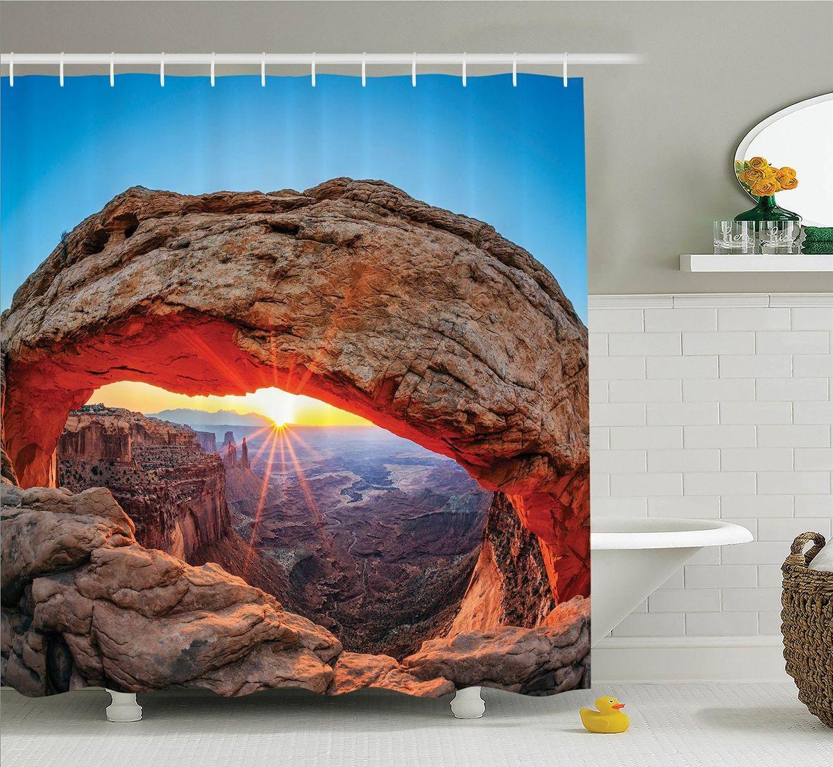 Штора для ванной комнаты Magic Lady Рассвет у арки Меса, 180 х 200 смPANTERA SPX-2RSШтора Magic Lady Рассвет у арки Меса, изготовленная из высококачественного сатена (полиэстер 100%), отлично дополнит любой интерьер ванной комнаты. При изготовлении используются специальные гипоаллергенные чернила для прямой печати по ткани, безопасные для человека.В комплекте: 1 штора, 12 крючков. Обращаем ваше внимание, фактический цвет изделия может незначительно отличаться от представленного на фото.