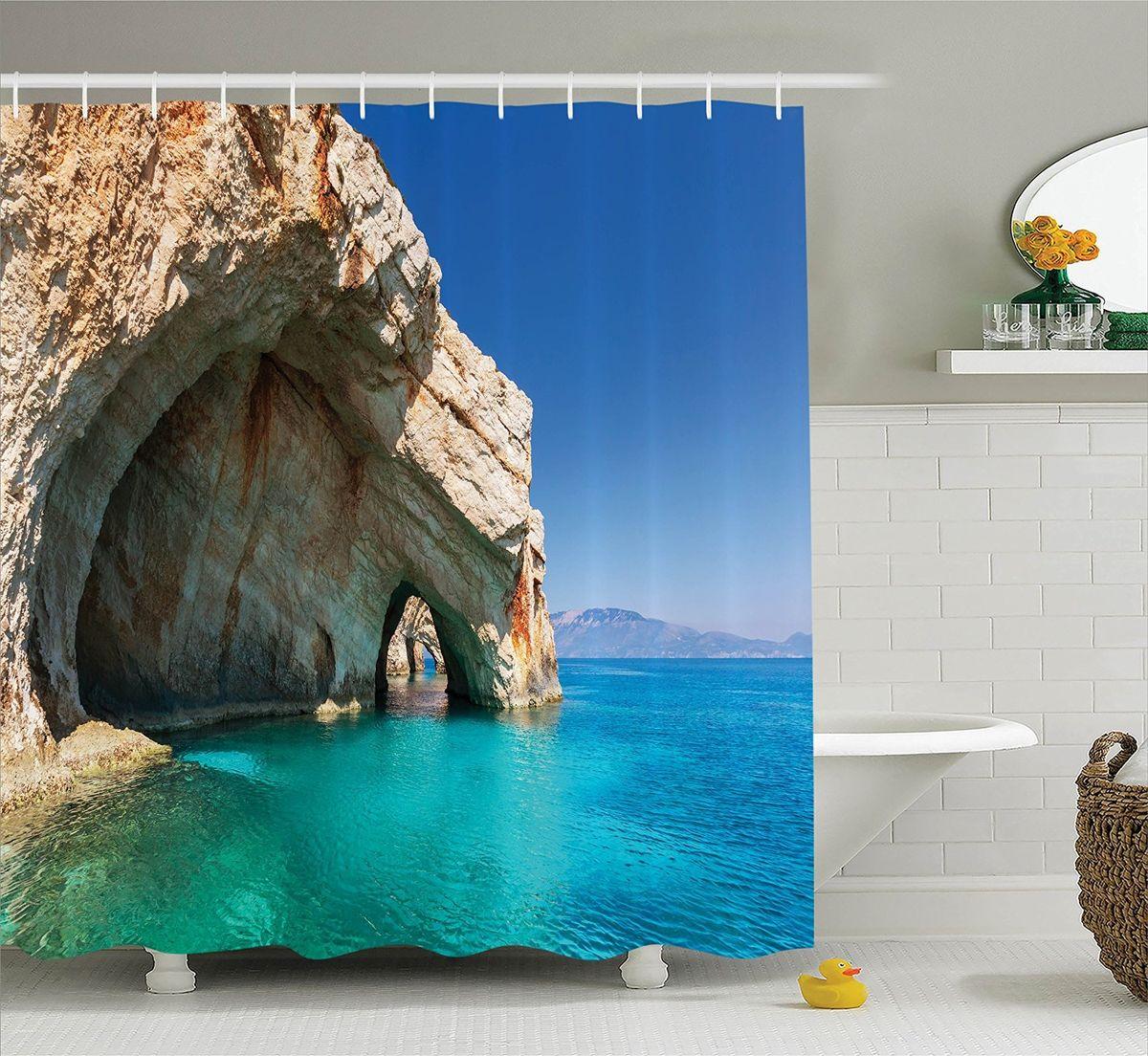 Штора для ванной комнаты Magic Lady Морская пещера, 180 х 200 см33313Штора Magic Lady Морская пещера, изготовленная из высококачественного сатена (полиэстер 100%), отлично дополнит любой интерьер ванной комнаты. При изготовлении используются специальные гипоаллергенные чернила для прямой печати по ткани, безопасные для человека.В комплекте: 1 штора, 12 крючков. Обращаем ваше внимание, фактический цвет изделия может незначительно отличаться от представленного на фото.