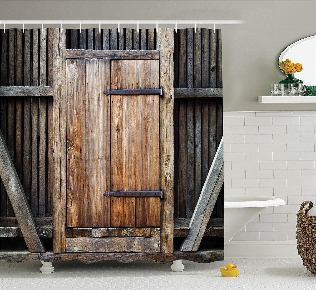 Штора для ванной комнаты Magic Lady Деревянная дверь, 180 х 200 см53000Штора Magic Lady Деревянная дверь, изготовленная из высококачественного сатена (полиэстер 100%), отлично дополнит любой интерьер ванной комнаты. При изготовлении используются специальные гипоаллергенные чернила для прямой печати по ткани, безопасные для человека.В комплекте: 1 штора, 12 крючков. Обращаем ваше внимание, фактический цвет изделия может незначительно отличаться от представленного на фото.
