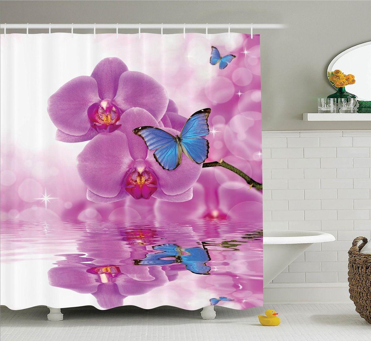 Штора для ванной комнаты Magic Lady Бабочки на цветах орхидеи, 180 х 200 см531-105Компания Сэмболь изготавливает шторы из высококачественного сатена (полиэстер 100%). При изготовлении используются специальные гипоаллергенные чернила для прямой печати по ткани, безопасные для человека и животных. Экологичность продукции Magic lady и безопасность для окружающей среды подтверждены сертификатом Oeko-Tex Standard 100. Крепление: крючки (12 шт.). Внимание! При нанесении сублимационной печати на ткань технологическим методом при температуре 240 С, возможно отклонение полученных размеров, указанных на этикетке и сайте, от стандартных на + - 3-5 см. Мы стараемся максимально точно передать цвета изделия на наших фотографиях, однако искажения неизбежны и фактический цвет изделия может отличаться от воспринимаемого по фото. Обратите внимание! Шторы изготовлены из полиэстра сатенового переплетения, а не из сатина (хлопок). Размер шторы 180*200 см. В комплекте 1 штора и 12 крючков.