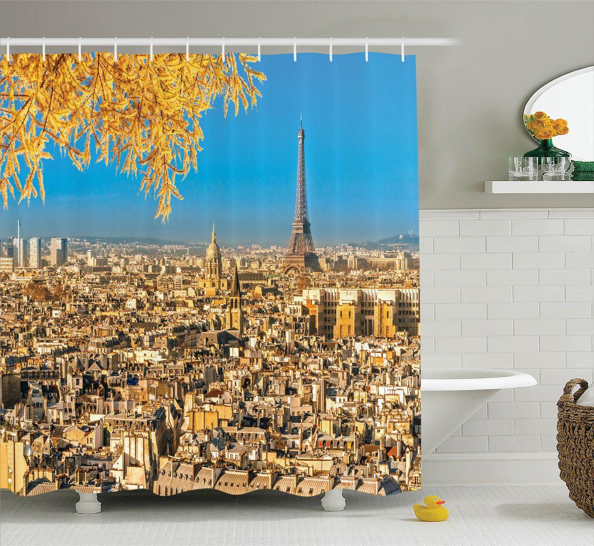 Штора для ванной комнаты Magic Lady Осенний Париж, 180 х 200 см531-401Штора Magic Lady Осенний Париж, изготовленная из высококачественного сатена (полиэстер 100%), отлично дополнит любой интерьер ванной комнаты. При изготовлении используются специальные гипоаллергенные чернила для прямой печати по ткани, безопасные для человека.В комплекте: 1 штора, 12 крючков. Обращаем ваше внимание, фактический цвет изделия может незначительно отличаться от представленного на фото.