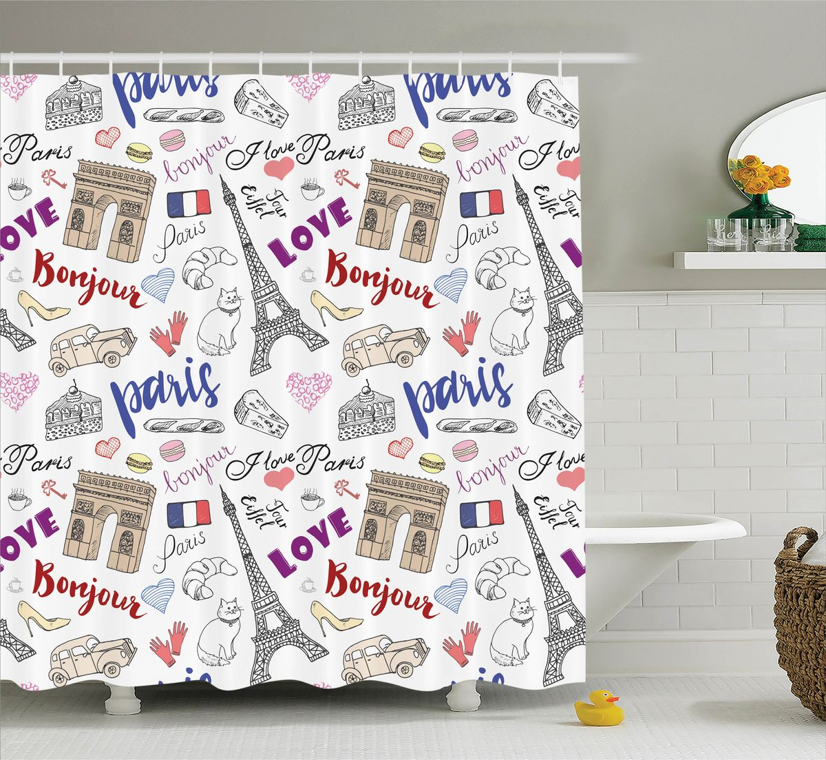 Штора для ванной комнаты Magic Lady Bonjour, Paris!, 180 х 200 см531-105Штора Magic Lady Bonjour, Paris!, изготовленная из высококачественного сатена (полиэстер 100%), отлично дополнит любой интерьер ванной комнаты. При изготовлении используются специальные гипоаллергенные чернила для прямой печати по ткани, безопасные для человека.В комплекте: 1 штора, 12 крючков. Обращаем ваше внимание, фактический цвет изделия может незначительно отличаться от представленного на фото.