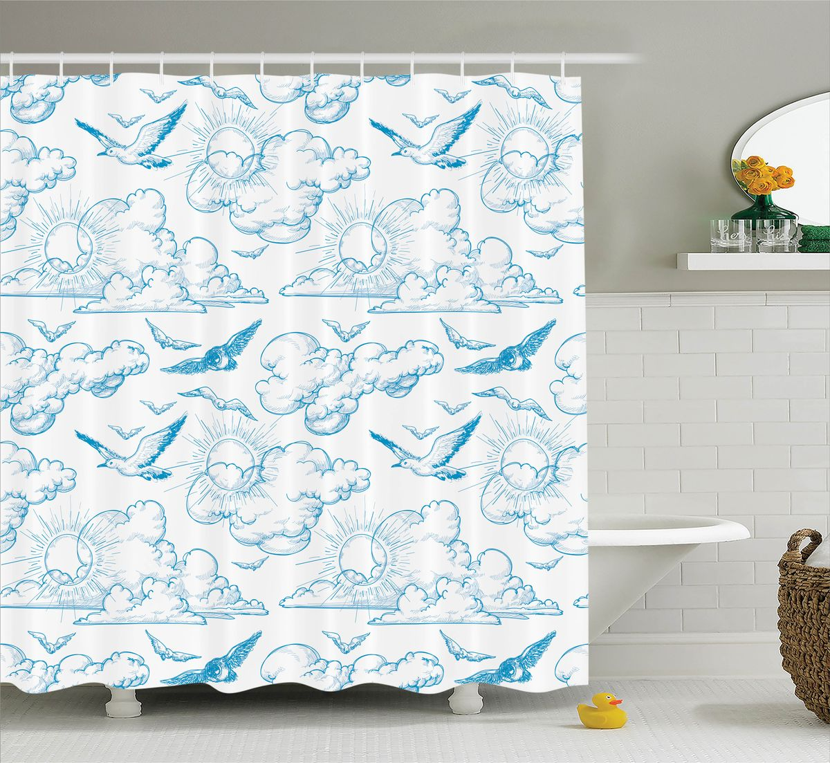 Штора для ванной комнаты Magic Lady Птицы в небе, 180 х 200 см68/5/4Штора Magic Lady Птицы в небе, изготовленная из высококачественного сатена (полиэстер 100%), отлично дополнит любой интерьер ванной комнаты. При изготовлении используются специальные гипоаллергенные чернила для прямой печати по ткани, безопасные для человека.В комплекте: 1 штора, 12 крючков. Обращаем ваше внимание, фактический цвет изделия может незначительно отличаться от представленного на фото.