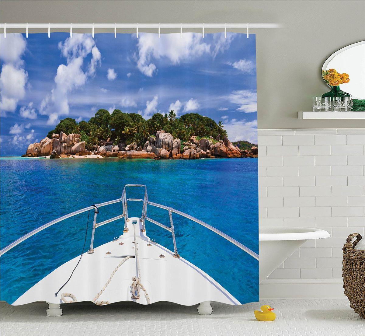 Штора для ванной комнаты Magic Lady На палубе, 180 х 200 см391602Штора Magic Lady На палубе, изготовленная из высококачественного сатена (полиэстер 100%), отлично дополнит любой интерьер ванной комнаты. При изготовлении используются специальные гипоаллергенные чернила для прямой печати по ткани, безопасные для человека.В комплекте: 1 штора, 12 крючков. Обращаем ваше внимание, фактический цвет изделия может незначительно отличаться от представленного на фото.