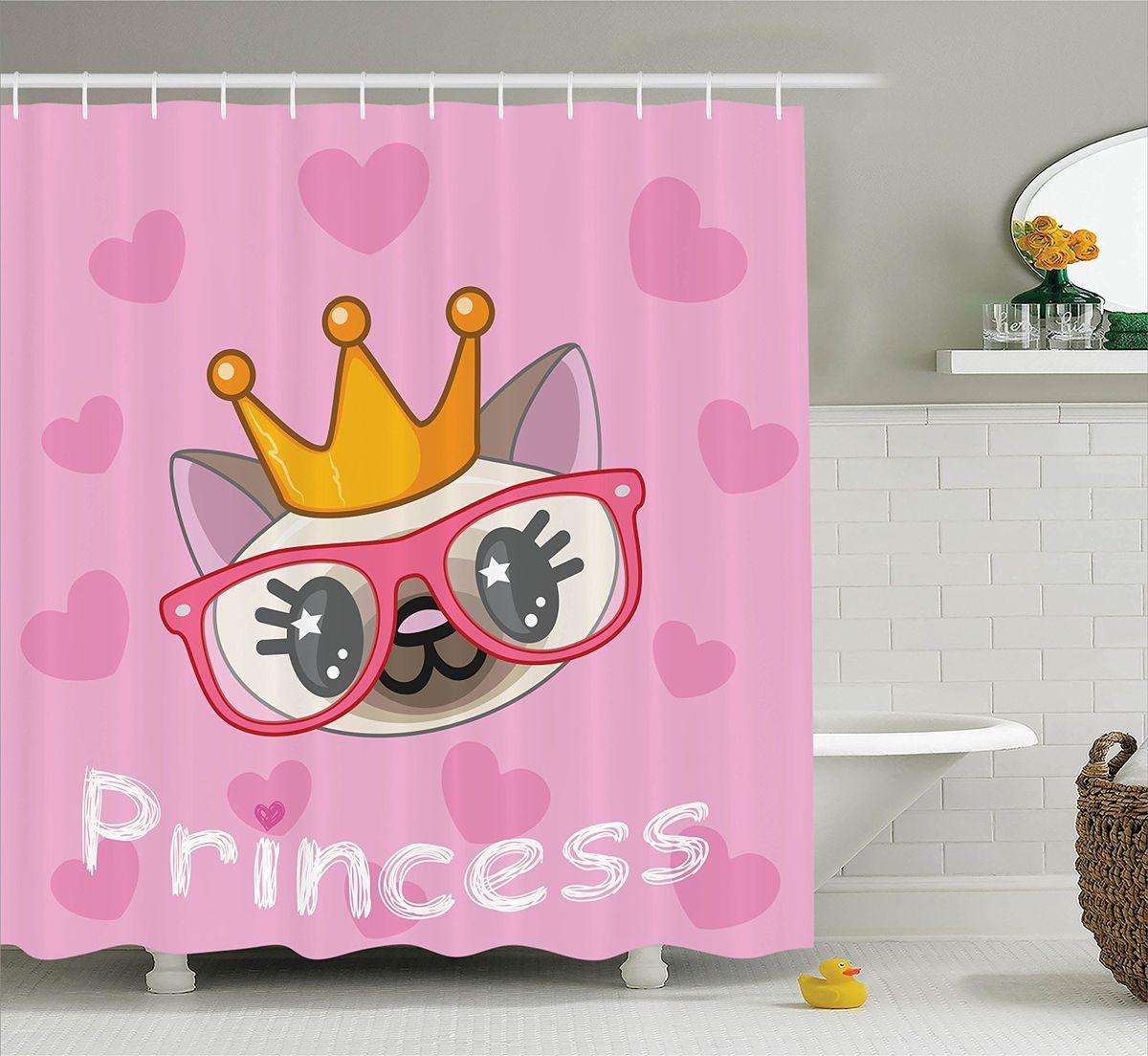Штора для ванной комнаты Magic Lady Принцесса кошек, 180 х 200 см68/5/4Штора Magic Lady Принцесса кошек, изготовленная из высококачественного сатена (полиэстер 100%), отлично дополнит любой интерьер ванной комнаты. При изготовлении используются специальные гипоаллергенные чернила для прямой печати по ткани, безопасные для человека.В комплекте: 1 штора, 12 крючков. Обращаем ваше внимание, фактический цвет изделия может незначительно отличаться от представленного на фото.