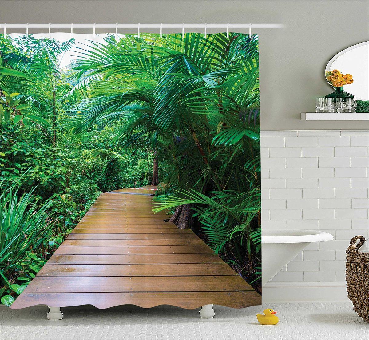 Штора для ванной комнаты Magic Lady Дорога среди тропических растений, 180 х 200 см403060Штора Magic Lady Дорога среди тропических растений, изготовленная из высококачественного сатена (полиэстер 100%), отлично дополнит любой интерьер ванной комнаты. При изготовлении используются специальные гипоаллергенные чернила для прямой печати по ткани, безопасные для человека.В комплекте: 1 штора, 12 крючков. Обращаем ваше внимание, фактический цвет изделия может незначительно отличаться от представленного на фото.