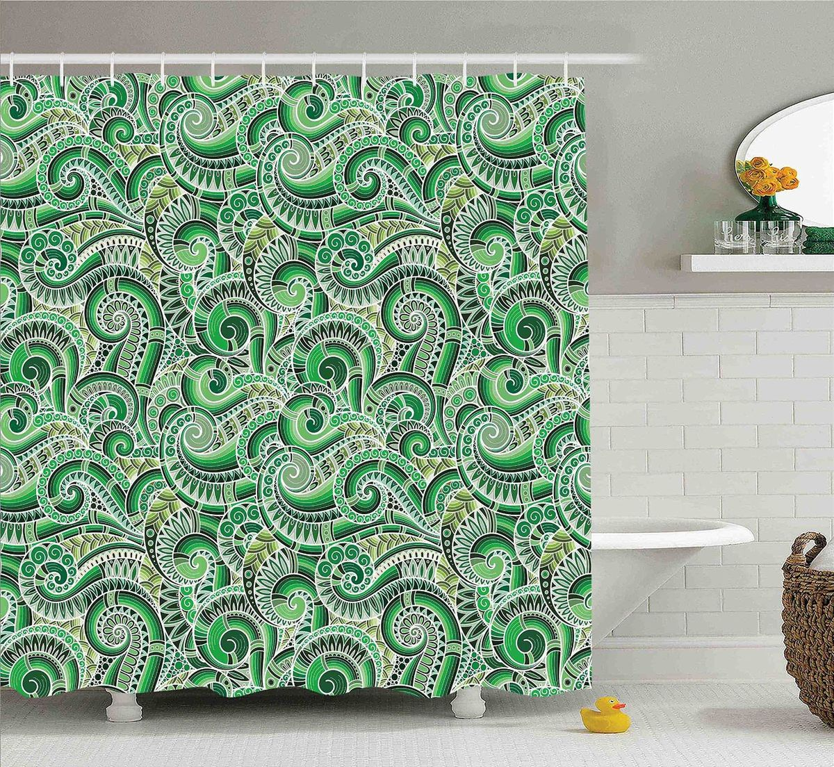 Штора для ванной комнаты Magic Lady Зеленые узоры, 180 х 200 смшв_10225Штора Magic Lady Зеленые узоры, изготовленная из высококачественного сатена (полиэстер 100%), отлично дополнит любой интерьер ванной комнаты. При изготовлении используются специальные гипоаллергенные чернила для прямой печати по ткани, безопасные для человека.В комплекте: 1 штора, 12 крючков. Обращаем ваше внимание, фактический цвет изделия может незначительно отличаться от представленного на фото.
