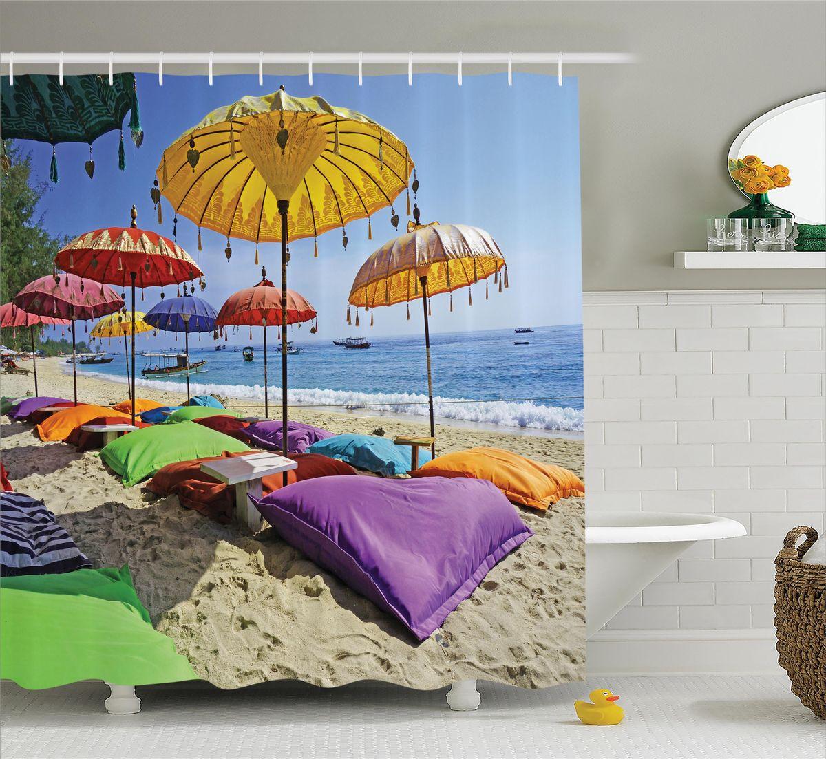 Штора для ванной комнаты Magic Lady Зонтики на пляже, 180 х 200 см49300Штора Magic Lady Зонтики на пляже, изготовленная из высококачественного сатена (полиэстер 100%), отлично дополнит любой интерьер ванной комнаты. При изготовлении используются специальные гипоаллергенные чернила для прямой печати по ткани, безопасные для человека.В комплекте: 1 штора, 12 крючков. Обращаем ваше внимание, фактический цвет изделия может незначительно отличаться от представленного на фото.