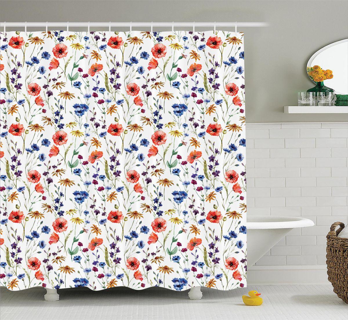 Штора для ванной комнаты Magic Lady Полевые цветы, 180 х 200 смшв_12325Штора Magic Lady Полевые цветы, изготовленная из высококачественного сатена (полиэстер 100%), отлично дополнит любой интерьер ванной комнаты. При изготовлении используются специальные гипоаллергенные чернила для прямой печати по ткани, безопасные для человека.В комплекте: 1 штора, 12 крючков. Обращаем ваше внимание, фактический цвет изделия может незначительно отличаться от представленного на фото.