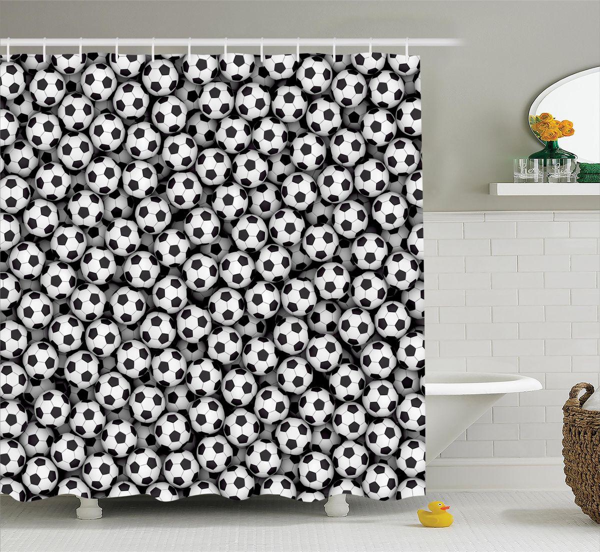 Штора для ванной комнаты Magic Lady Футбольные мячи, 180 х 200 см45309Штора Magic Lady Футбольные мячи, изготовленная из высококачественного сатена (полиэстер 100%), отлично дополнит любой интерьер ванной комнаты. При изготовлении используются специальные гипоаллергенные чернила для прямой печати по ткани, безопасные для человека.В комплекте: 1 штора, 12 крючков. Обращаем ваше внимание, фактический цвет изделия может незначительно отличаться от представленного на фото.