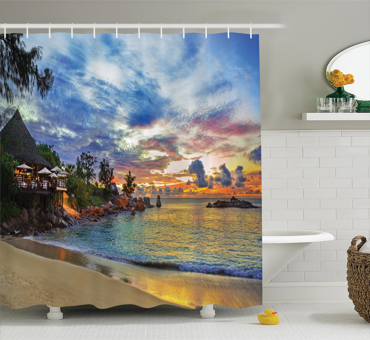 Штора для ванной комнаты Magic Lady Вечер в райском уголке, 180 х 200 смшв_12485Штора Magic Lady Вечер в райском уголке, изготовленная из высококачественного сатена (полиэстер 100%), отлично дополнит любой интерьер ванной комнаты. При изготовлении используются специальные гипоаллергенные чернила для прямой печати по ткани, безопасные для человека.В комплекте: 1 штора, 12 крючков. Обращаем ваше внимание, фактический цвет изделия может незначительно отличаться от представленного на фото.