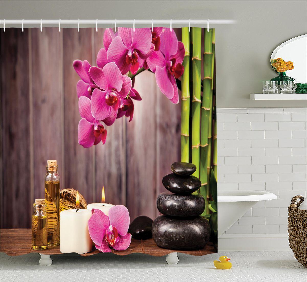 Штора для ванной комнаты Magic Lady Орхидеи и свечи, 180 х 200 смшв_11704Штора Magic Lady Орхидеи и свечи, изготовленная из высококачественного сатена (полиэстер 100%), отлично дополнит любой интерьер ванной комнаты. При изготовлении используются специальные гипоаллергенные чернила для прямой печати по ткани, безопасные для человека.В комплекте: 1 штора, 12 крючков. Обращаем ваше внимание, фактический цвет изделия может незначительно отличаться от представленного на фото.
